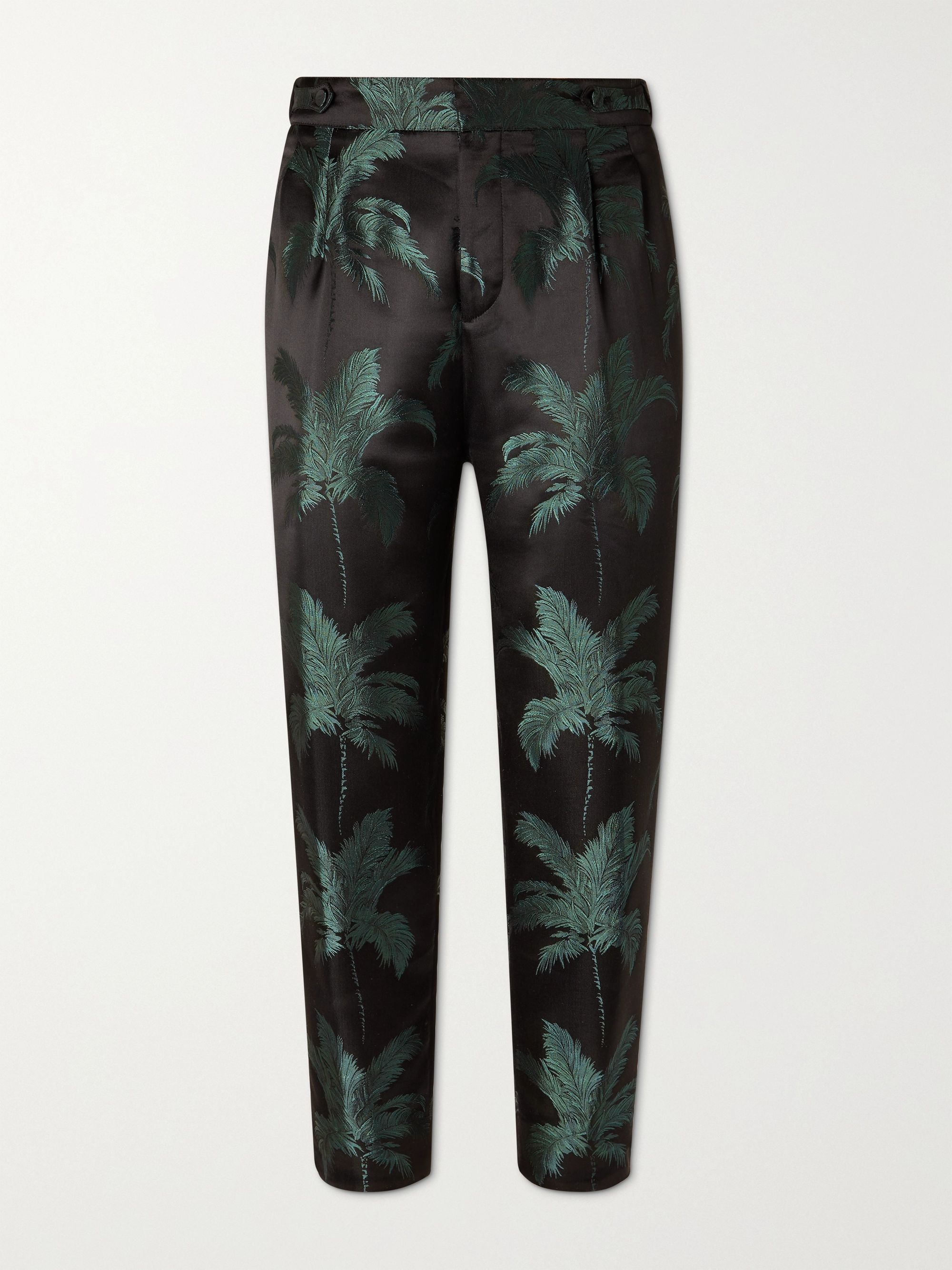 SAINT LAURENT Tapered Cropped Pleated Satin-Jacquard Trousers