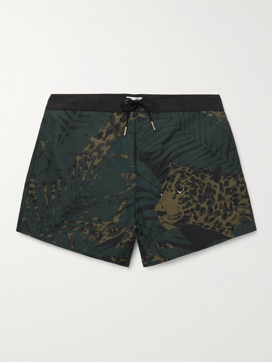 SAINT LAURENT Mid-Length Printed Swim Shorts