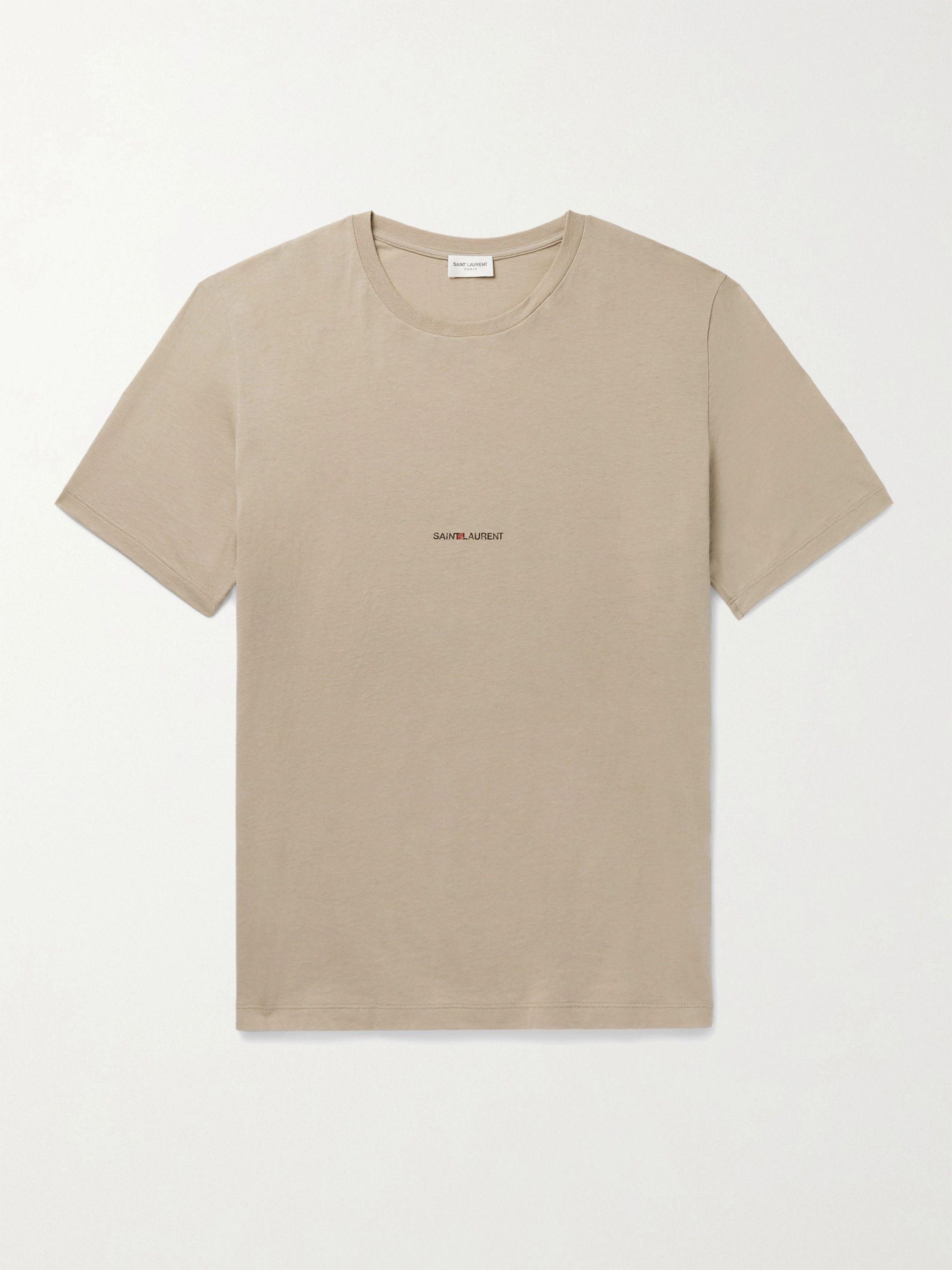 생 로랑 Saint Laurent Cotton-Jersey T-Shirt,Beige