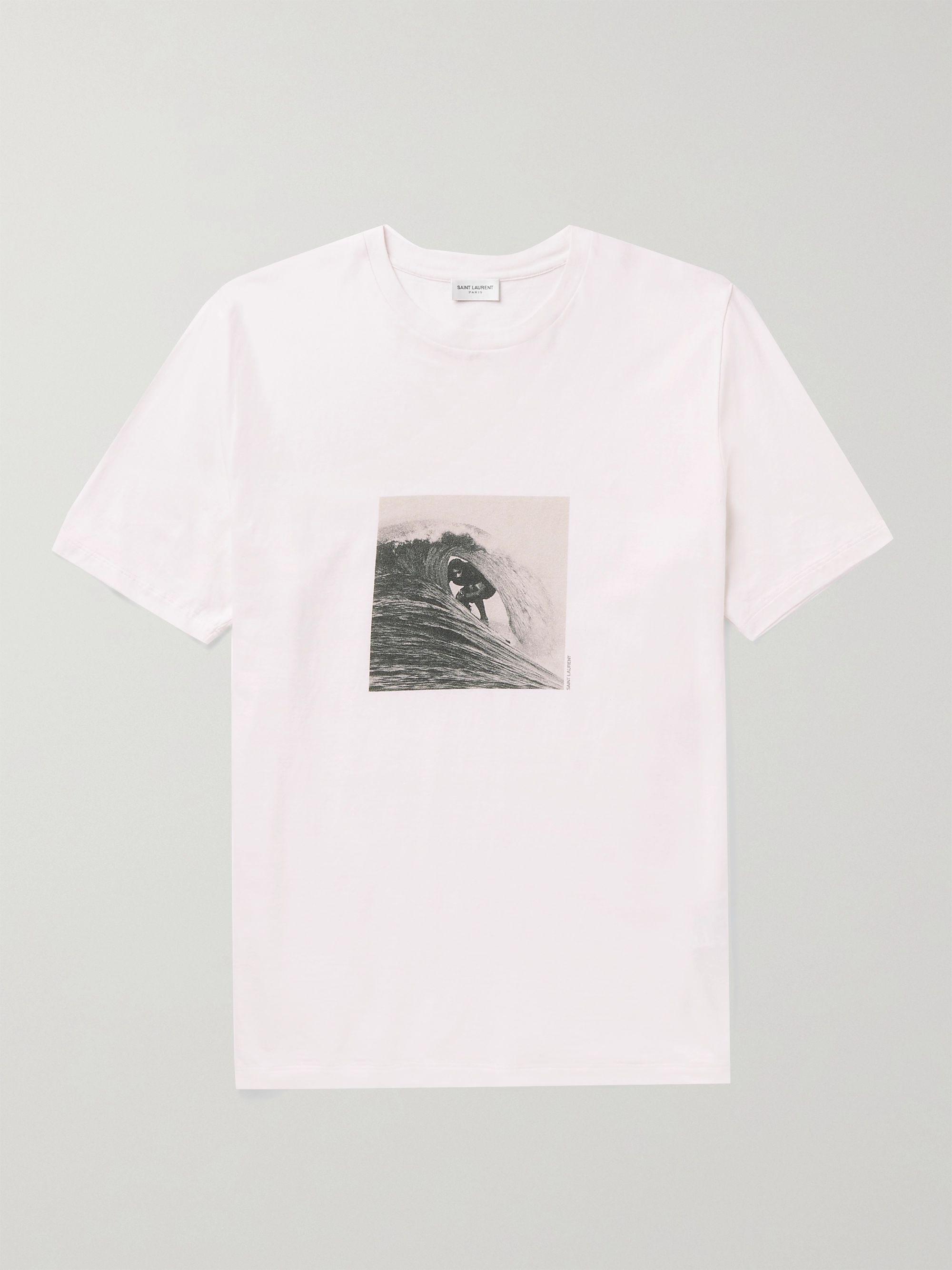 생 로랑 Saint Laurent Printed Cotton-Jersey T-Shirt,Ecru