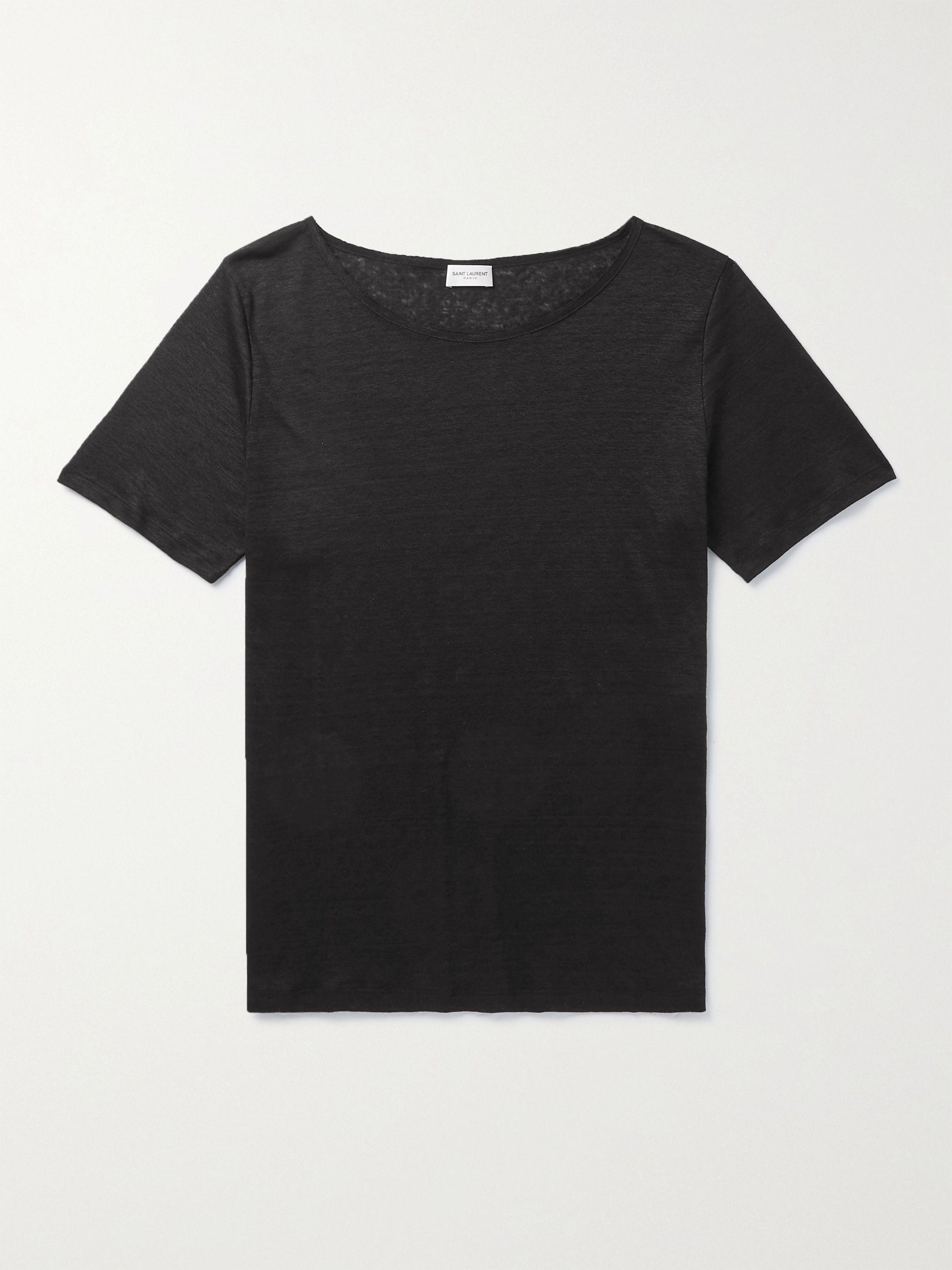 생 로랑 Saint Laurent Slub Linen T-Shirt,Black