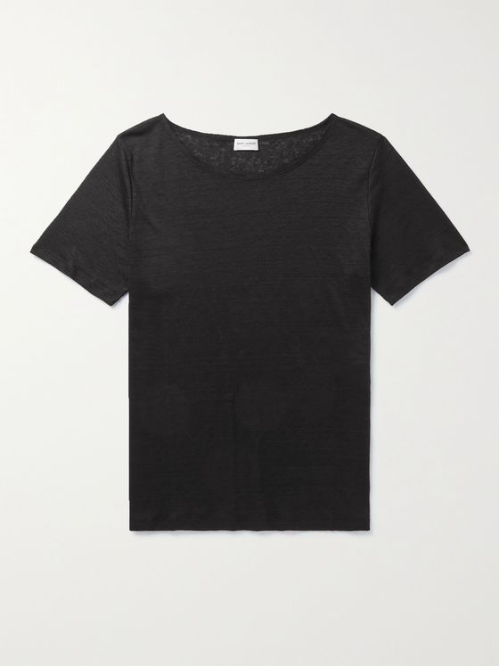 SAINT LAURENT Slub Linen T-Shirt