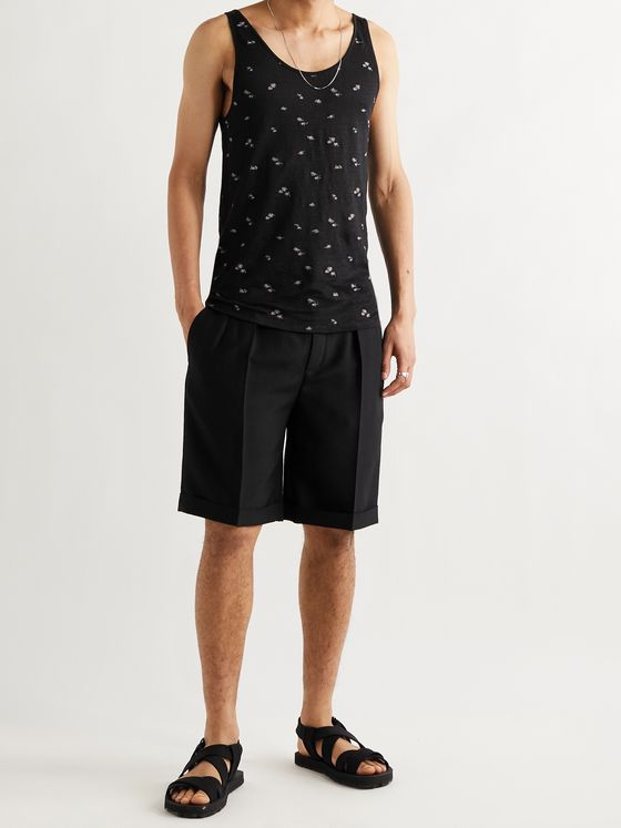 SAINT LAURENT Slim-Fit Embroidered Linen-Jersey Tank Top