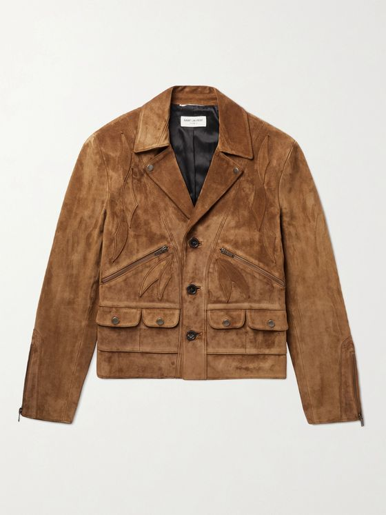 SAINT LAURENT Slim-Fit Appliquéd Suede Jacket