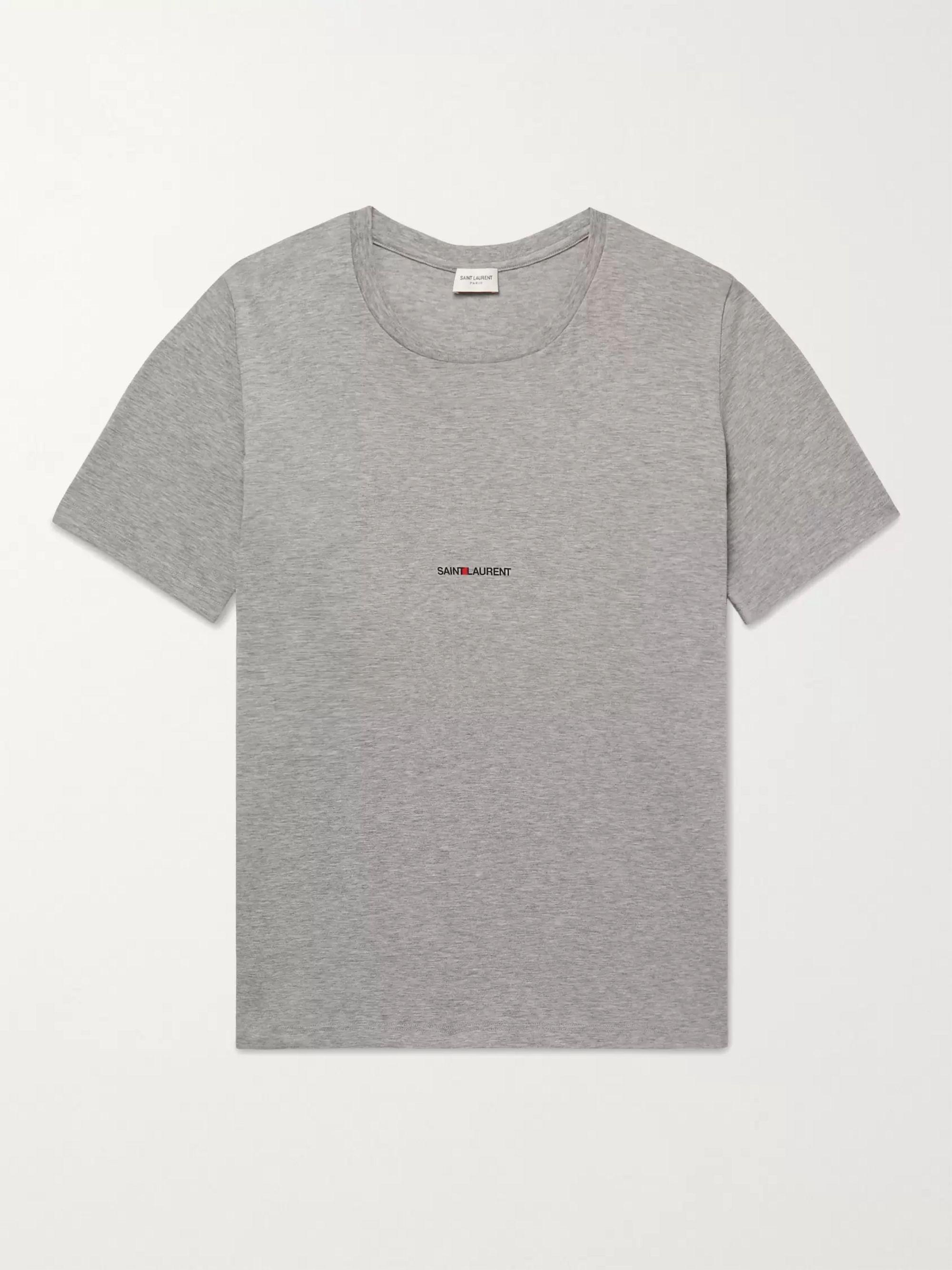 생 로랑 Saint Laurent Slim-Fit Logo-Print Melange Cotton-Jersey T-Shirt,Dark gray
