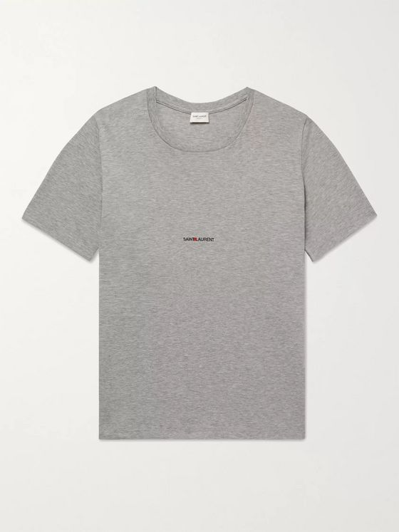 SAINT LAURENT Slim-Fit Logo-Print Mélange Cotton-Jersey T-Shirt