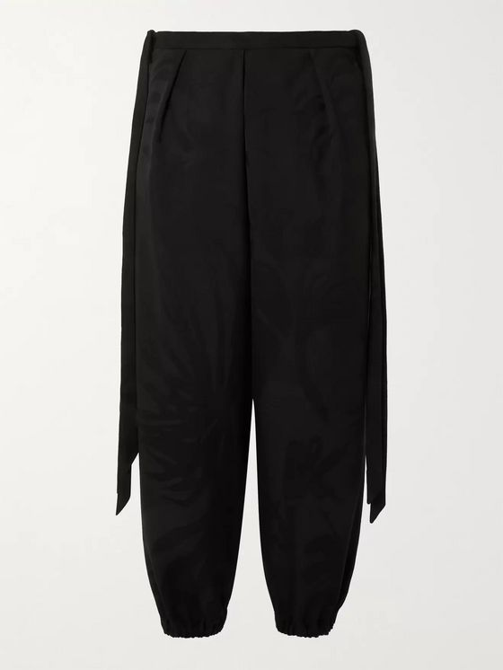 SAINT LAURENT Wide-Leg Cropped Virgin Wool-Jacquard Trousers