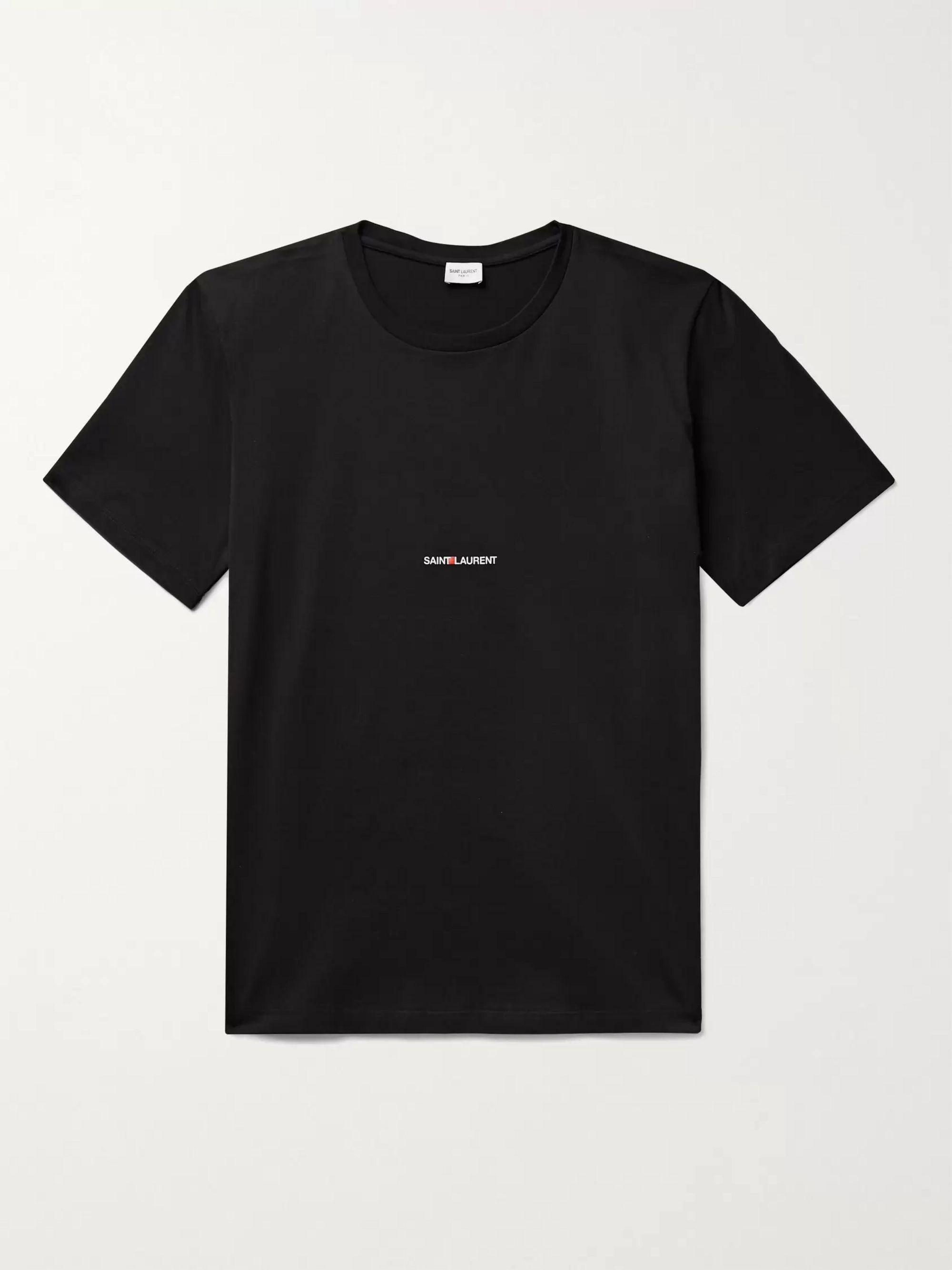 생 로랑 Saint Laurent Logo-Print Cotton-Jersey T-Shirt,Black