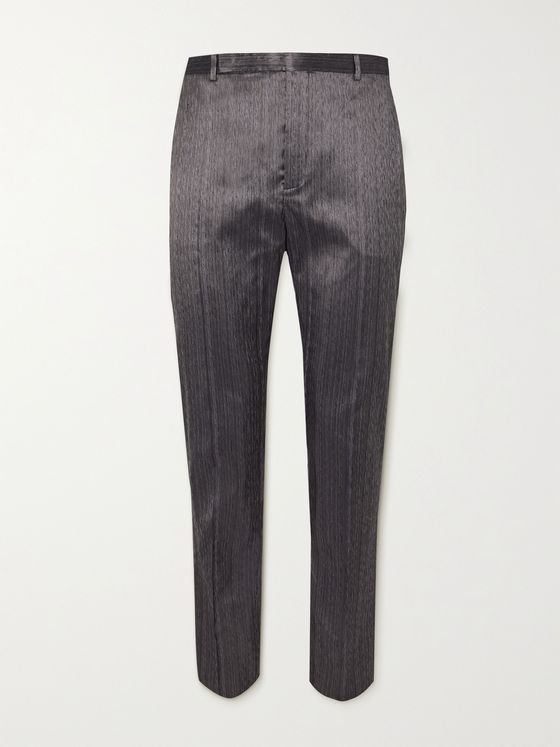SAINT LAURENT Slim-Fit Silk-Blend Shantung Suit Trousers