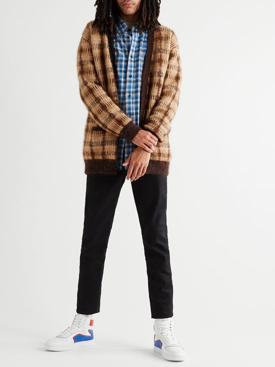 CELINE HOMME Oversized Checked Intarsia Textured-Knit Cardigan