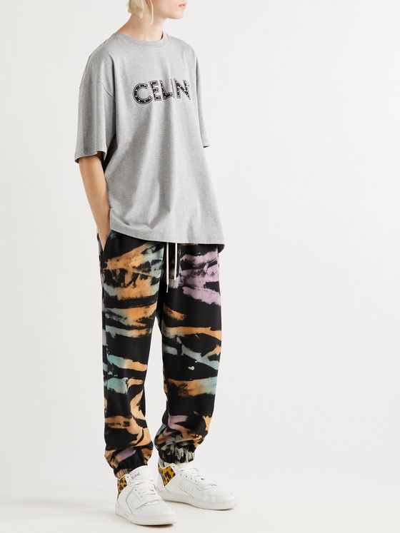 CELINE HOMME Tapered Tie-Dyed Loopback Cotton-Jersey Sweatpants