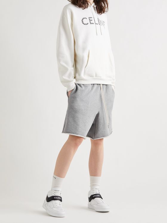CELINE HOMME Wide-Leg Logo-Embroidered Loopback Cotton-Jersey Drawstring Shorts