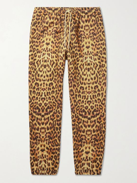CELINE HOMME Tapered Leopard-Print Loopback Cotton-Jersey Sweatpants