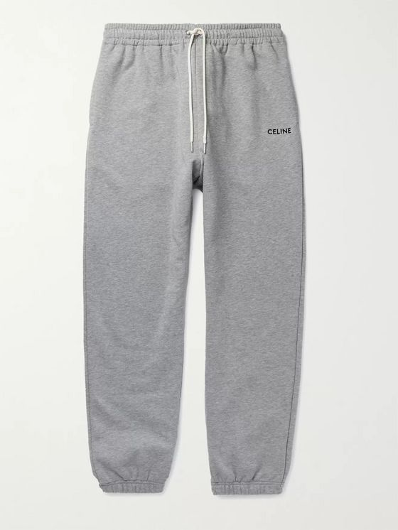 CELINE HOMME Tapered Logo-Embroidered Mélange Loopback Cotton-Jersey Sweatpants