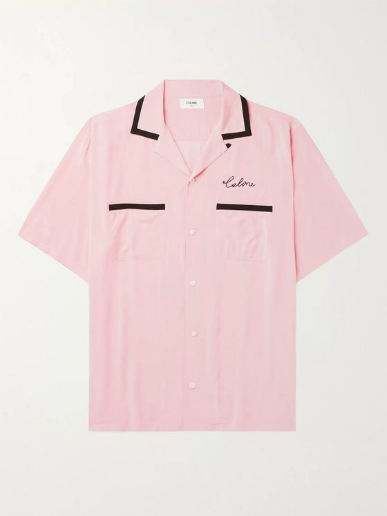 CELINE HOMME Camp-Collar Contrast-Tipped Logo-Embroidered Satin Shirt