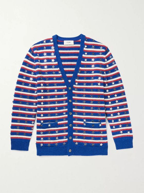 CELINE HOMME Oversized Sequin-Embellished Striped Wool Cardigan