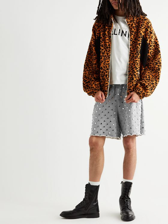 CELINE HOMME Wide-Leg Embellished Mélange Loopback Cotton-Jersey Drawstring Shorts