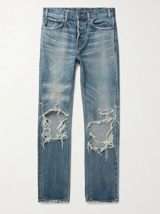 CELINE HOMME Slim-Fit Distressed Denim Jeans