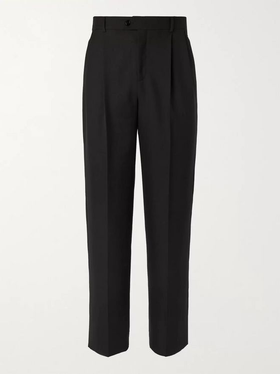 CELINE HOMME Pleated Wool and Mohair-Blend Trousers