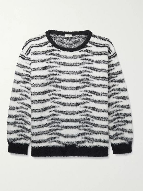 CELINE HOMME Oversized Zebra-Print Cotton-Blend Sweater