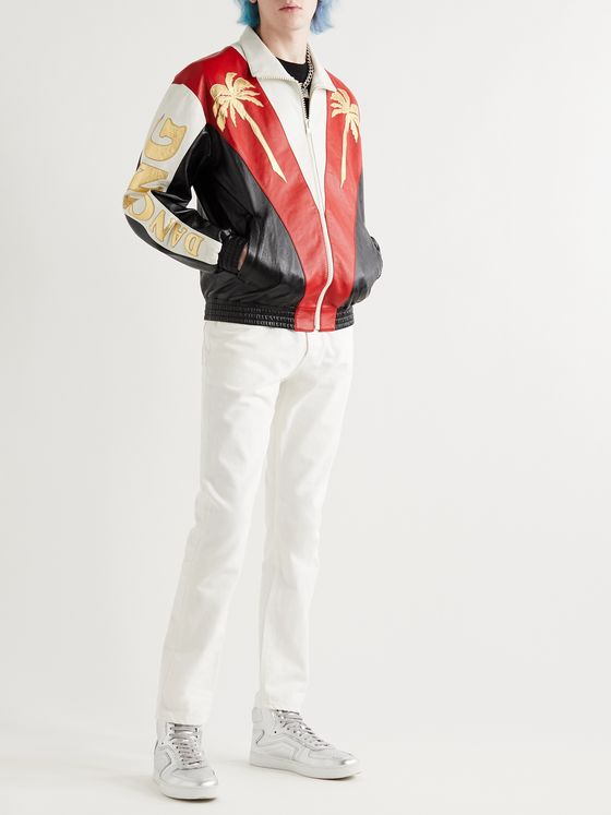 CELINE HOMME Appliquéd Colour-Block Leather Jacket