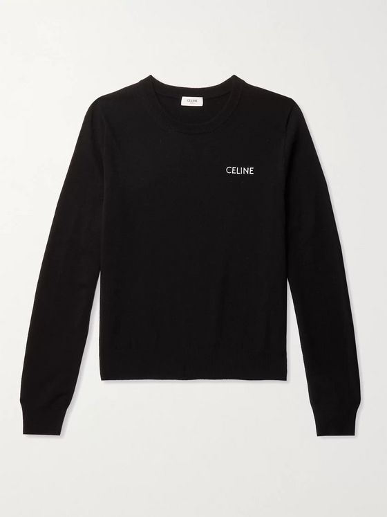 CELINE HOMME Slim-Fit Logo-Embroidered Wool and Cashmere-Blend Sweater