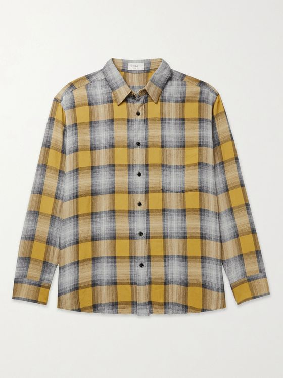 CELINE HOMME Oversized Checked Cotton-Flannel Shirt