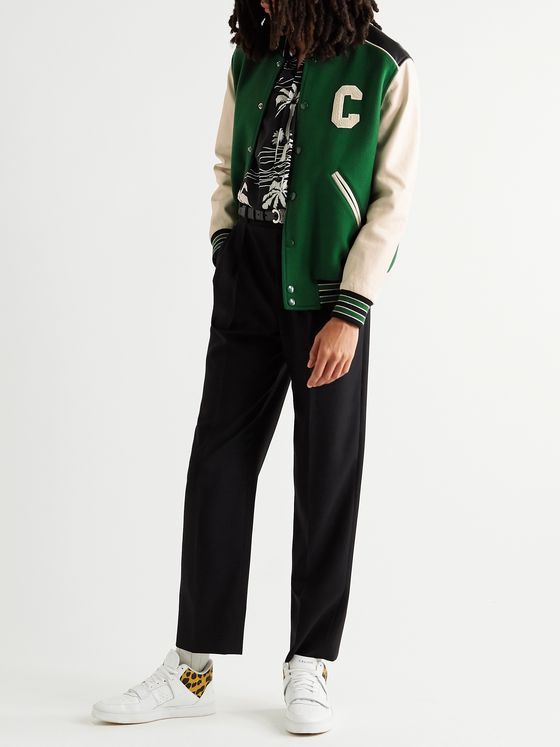 CELINE HOMME Appliquéd Wool-Blend and Leather Varsity Jacket