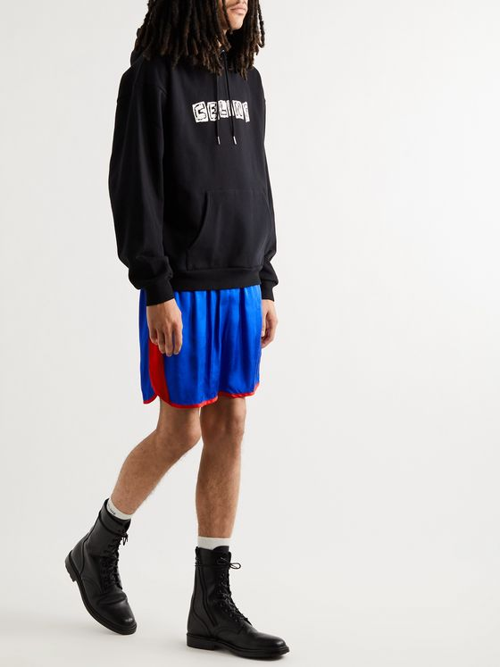 CELINE HOMME Wide-Leg Logo-Embroidered Colour-Block Satin Shorts