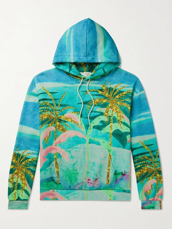 CELINE HOMME + Tyson Reeder Printed Loopback Cotton-Jersey Hoodie
