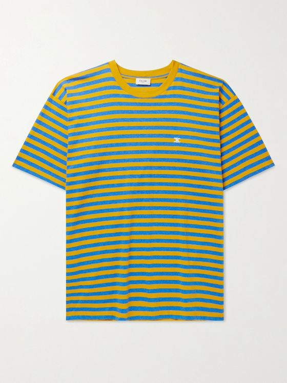 CELINE HOMME Logo-Embroidered Striped Cotton-Jersey T-Shirt
