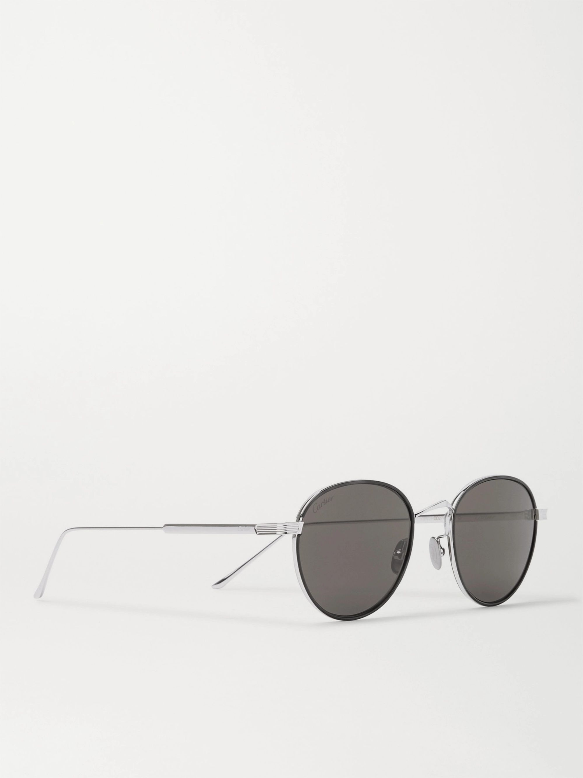 CARTIER EYEWEAR Round-Frame Silver-Tone and Acetate Sunglasses