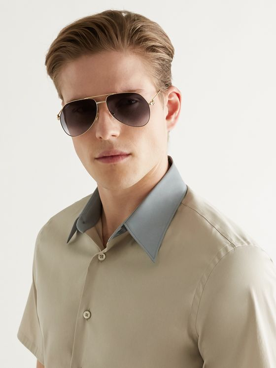 CARTIER EYEWEAR Aviator-Style Gold-Tone Sunglasses