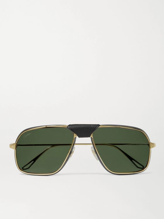 CARTIER EYEWEAR Leather-Trimmed Aviator-Style Gold-Tone Sunglasses