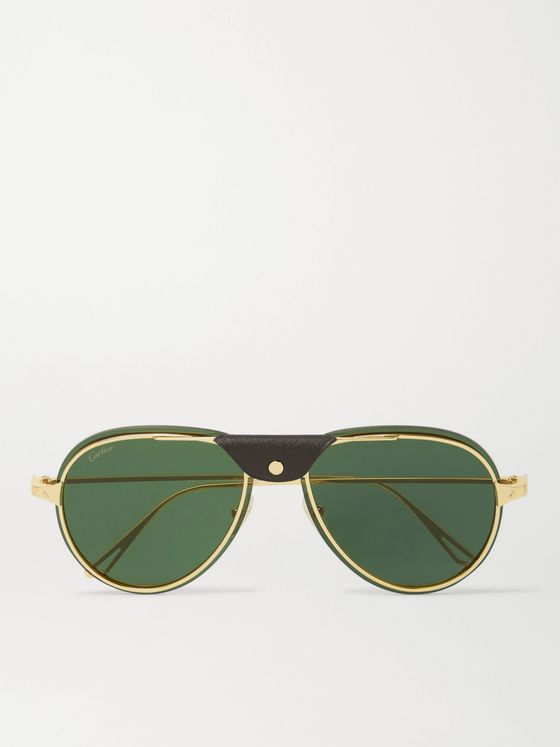 CARTIER EYEWEAR Aviator-Style Leather-Trimmed Gold-Tone Polarised Sunglasses