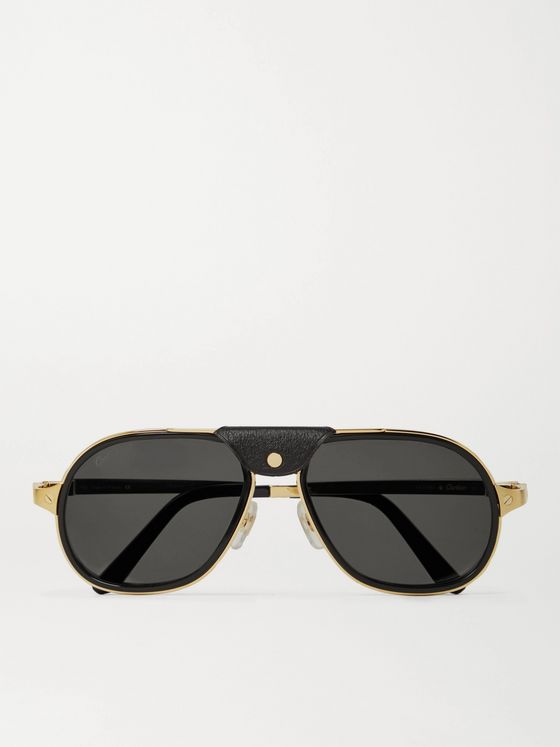 CARTIER EYEWEAR Aviator-Style Leather-Trimmed Gold-Tone and Acetate Sunglasses