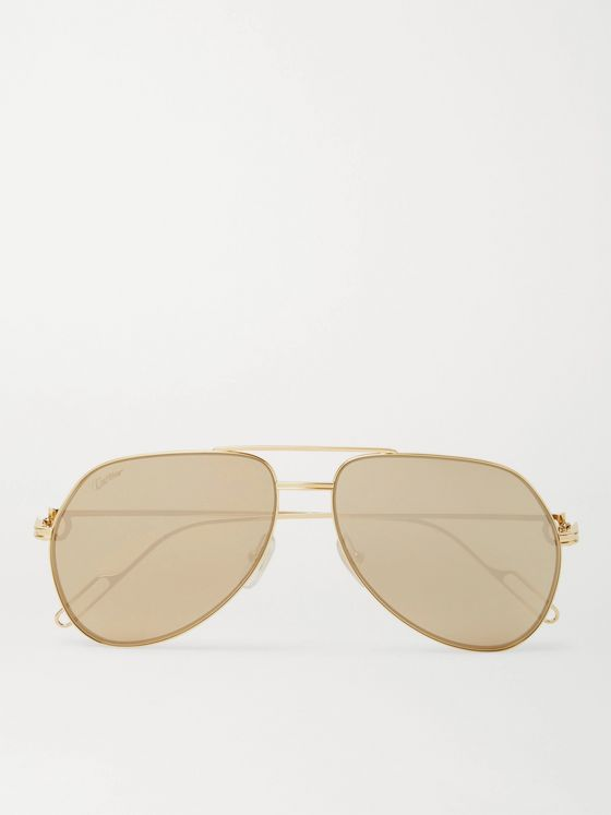 Cartier Eyewear Aviator-Style Gold-Tone Mirrored Sunglasses