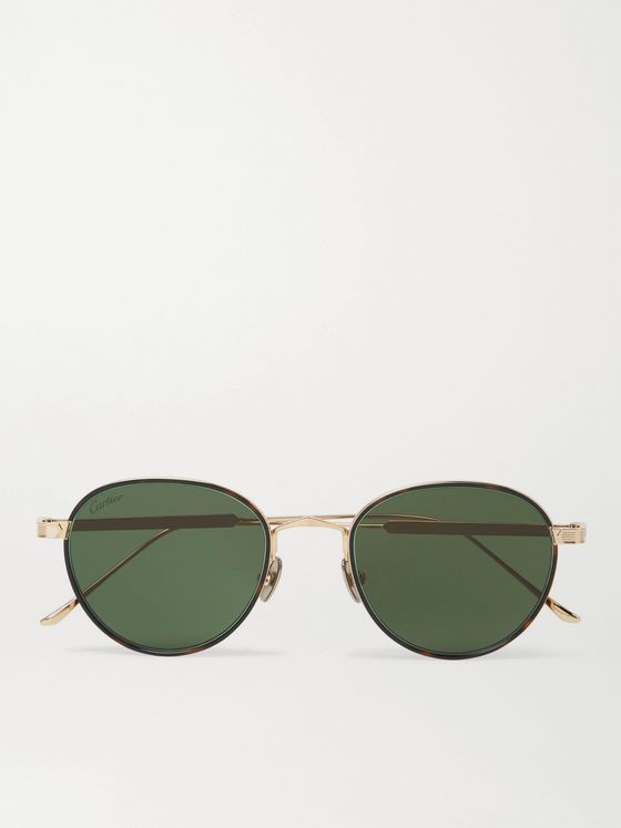 CARTIER EYEWEAR Round-Frame Gold-Tone and Tortoiseshell Acetate Sunglasses