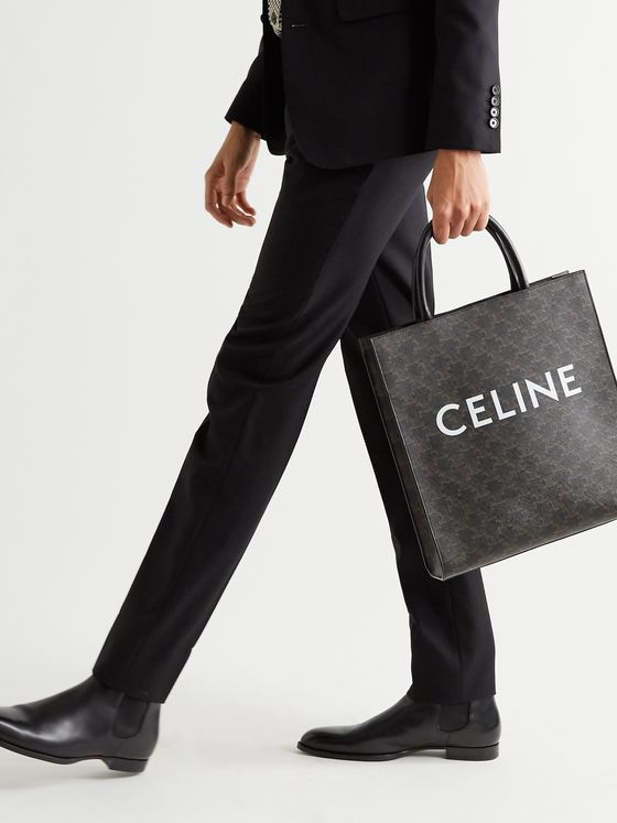 CELINE HOMME Leather-Trimmed Logo-Print Coated-Canvas Tote Bag