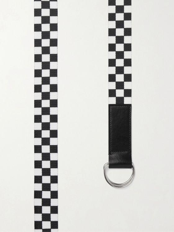 CELINE HOMME Leather-Trimmed Checked Canvas Belt