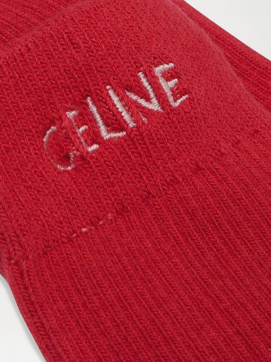 CELINE HOMME Logo-Embroidered Ribbed Cotton Socks