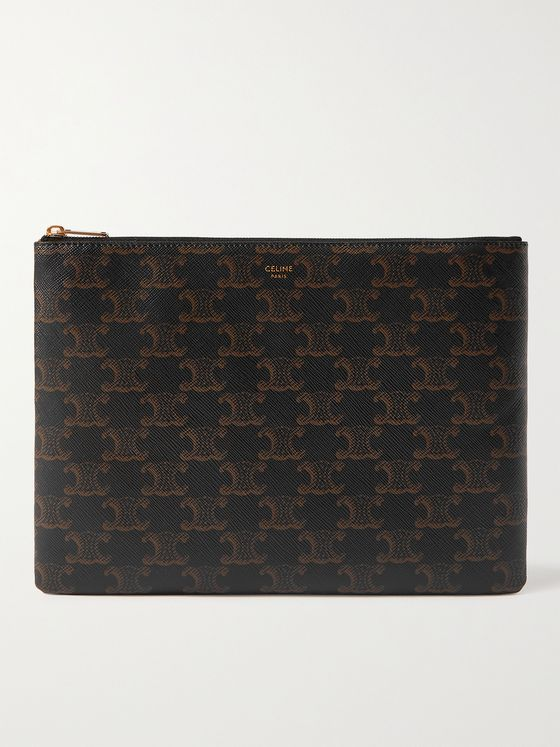 CELINE HOMME Triomphe Logo-Print Coated-Canvas Pouch