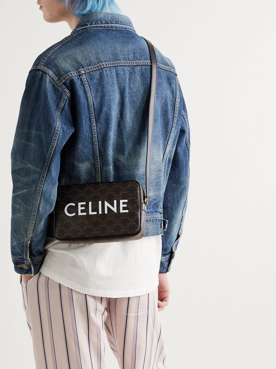 CELINE HOMME Leather-Trimmed Logo-Print Coated-Canvas Messenger Bag