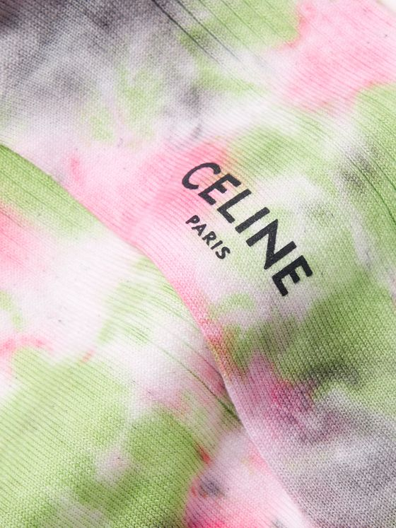 CELINE HOMME Ribbed Tie-Dyed Cotton Socks