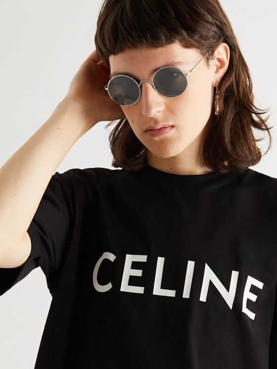 CELINE HOMME Round-Frame Silver-Tone Sunglasses