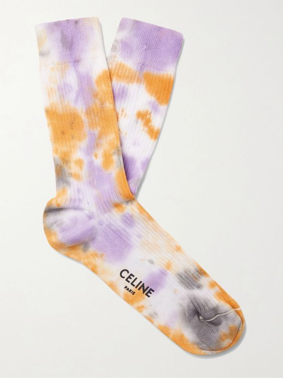 CELINE HOMME Tie-Dyed Cotton Socks