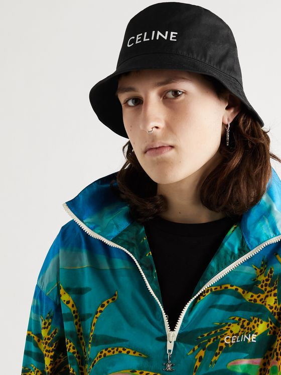 CELINE HOMME Logo-Print Cotton-Twill Bucket Hat
