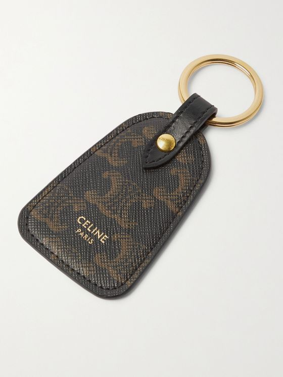 CELINE HOMME Leather-Trimmed Monogrammed Coated-Canvas Key Ring