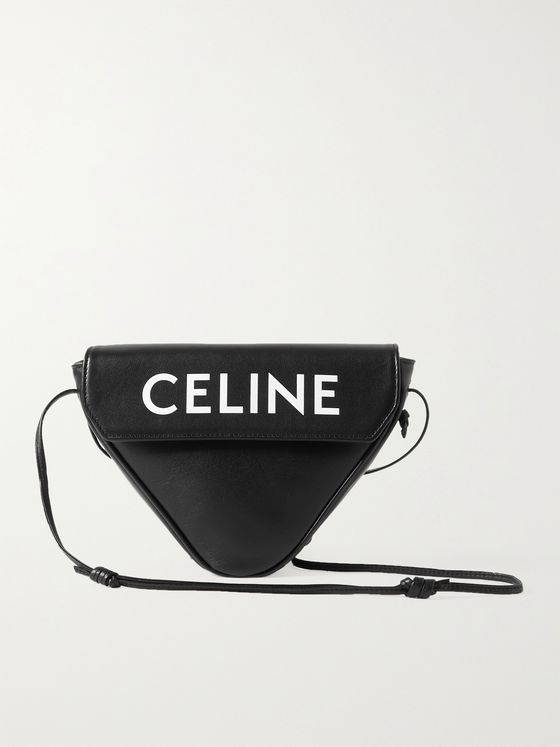 CELINE HOMME Logo-Print Leather Messenger Bag
