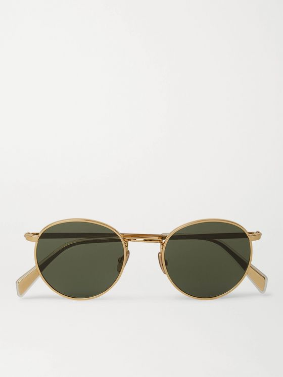 CELINE HOMME Round-Frame Gold-Tone Sunglasses